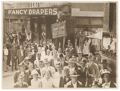 "Man on stilts for promotion of the film ""Street Scene"", King Vidor, Sydney, ca. 1931, Sam Hood"