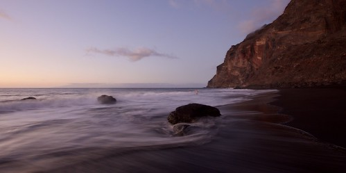 Swimming in the beach.Gomera.