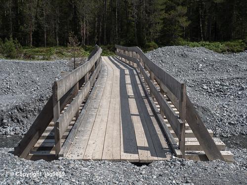 Wooden Pedestrian Bridge over the Furggatobelbach, Arosa, Canton of Grisons, Switzerland