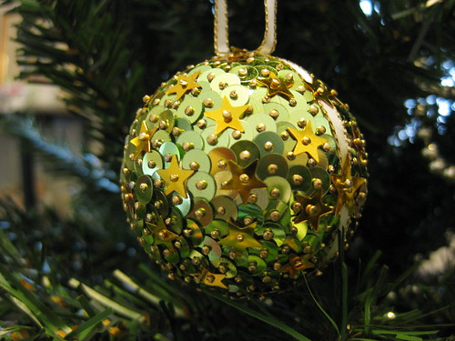 Hand Beaded Pale Green and Gold Star Christmas Bauble