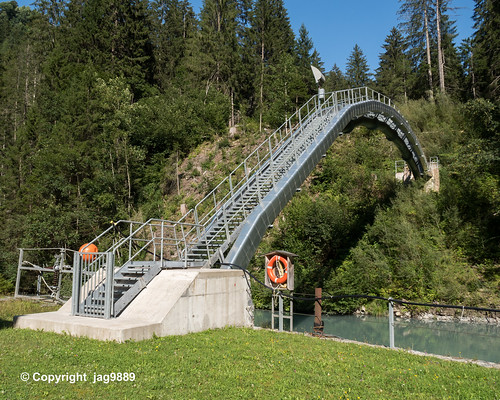 PLE200 Power Plant Lüen Pipeline Bridge over the Plessur River, Tschiertschen - Lüen, Canton of Grisons, Switzerland
