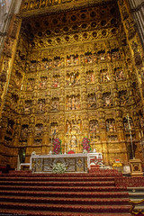 Altar screen inside the cathedral in Seville
