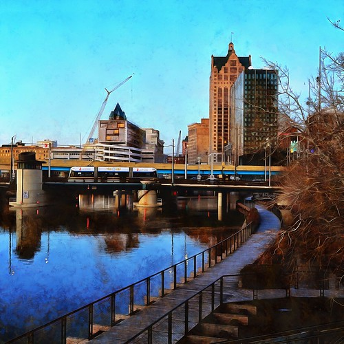 Digital Painting: Hop westbound across the Milwaukee River, early December  evening