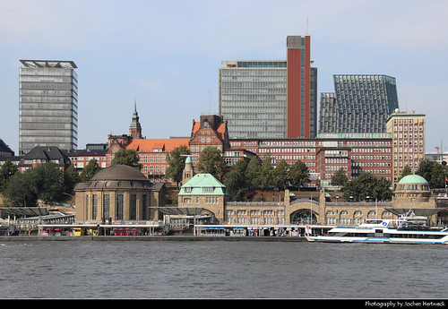 St.Pauli Landungsbrücken seen from Steinwerder, Hamburg, Germany