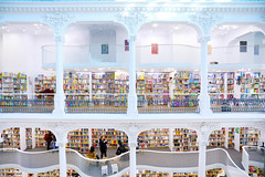 Two floors of books in a bookshop, new modern design, interior