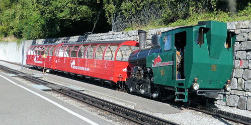 Brienz Rothorn Bahn, Switzerland - No. 16 with the coaches which will form the first portion of the 10.45 from Brienz on the 4th September 2019