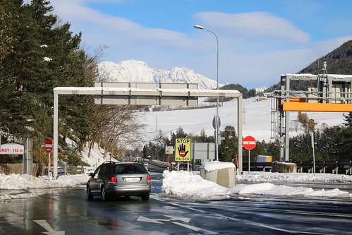 Brennerpass: Parkplatz Europabrücke an der Brenner Autobahn A13 / E45