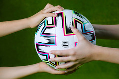 Euro 2020 official ball, Uniforia, in hands of supporters