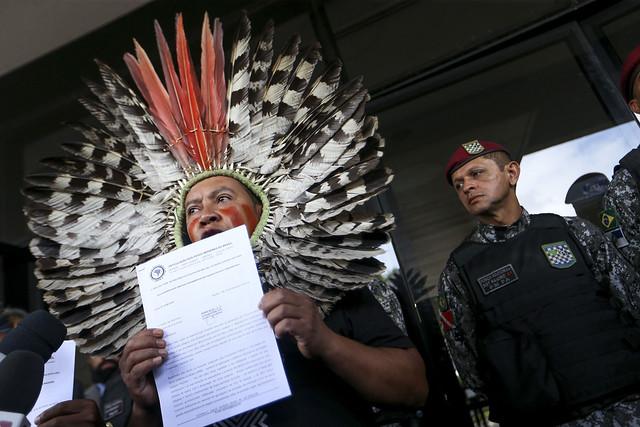 Indígenas protestam contra medidas do governo Bolsonaro - Créditos: Foto: Marcelo Camargo/Agência Brasil