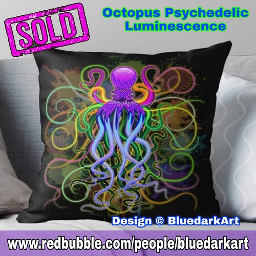 SOLD! Thanks! 🐙 #Octopus #Psychedelic #Luminescence Throw #Pillows 🐙  #Design © #BluedarkArt 👉 https://rdbl.co/2Ln5ymA  🐙    🔥 #SALE! 25% off all #apparel!  Code OUTFITS25 🔥 on #BluedarkArt Redbubble