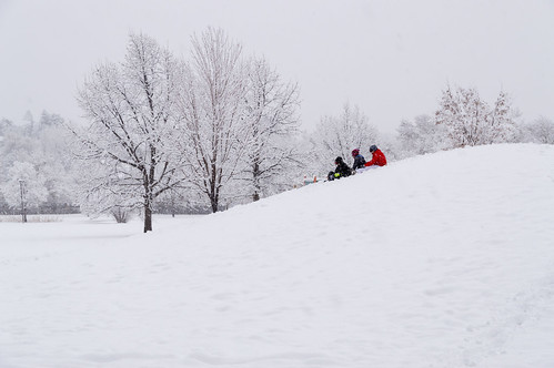 Sledding During the First Big Snowstorm of the Year