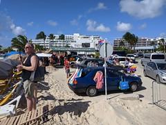 Plane watching at Maho Beach, St Maarten, Nov 2019