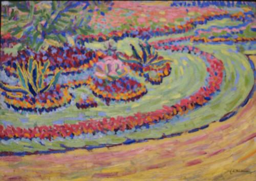 Ernst Ludwig Kirchner, Blumenbeete, Schlossplatz Dresden - Flowerbeds