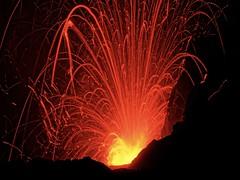Lava trails at Mount Yasur Volcano, Tanna, Vanuatu