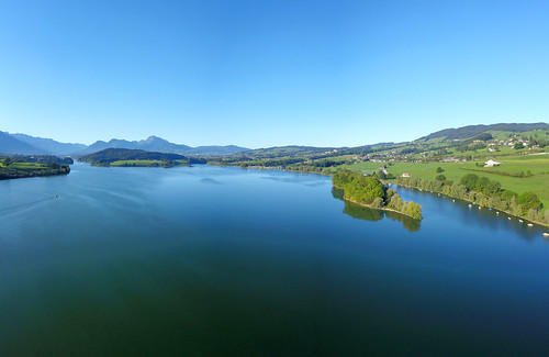 Vol d'oiseau sur le Lac de La Gruyère