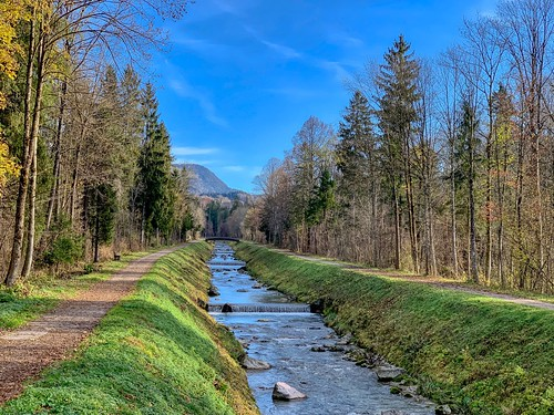 Bad-Jennbach creek in autumn between Niederndorf and Ebbs in Tyrol, Austria