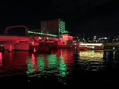 Laurel Street Bridge with Christmas lights, Hillsborough River, Tampa, Florida