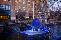 2019 Boats on the Promenade at sunset lit for Christmas