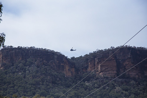 Helicopter Returning with Empty Bucket
