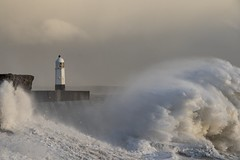 Winter storm: High tide at Porthcawl, south Wales