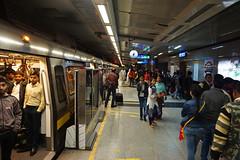 India, New Delhi - Inside yellow line of Delhi Metro - February 2018