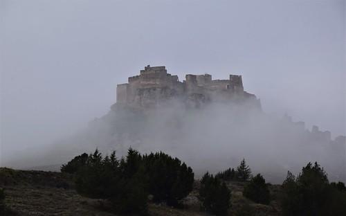 Castillo de Gormaz entre la niebla (Castilla y León, España, 6-12-2019)