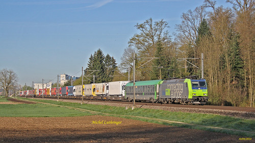 Re 485 004-6 BLS Train Rola  Novara-Fribourg Gbh à Herzogenbuchsee