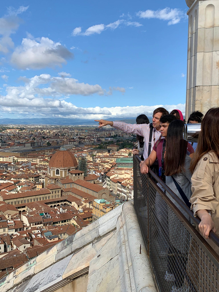 Cornell in Rome's Jeffrey Blanchard with students atop Brunelleschi's Dome, Cathedral of Santa Maria del Fiore, in Florence.  photo / Abram Collette (B.Arch. '22)