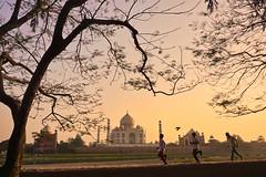 India, Agra - Magical sunset glow over the Taj Mahal - February 2018