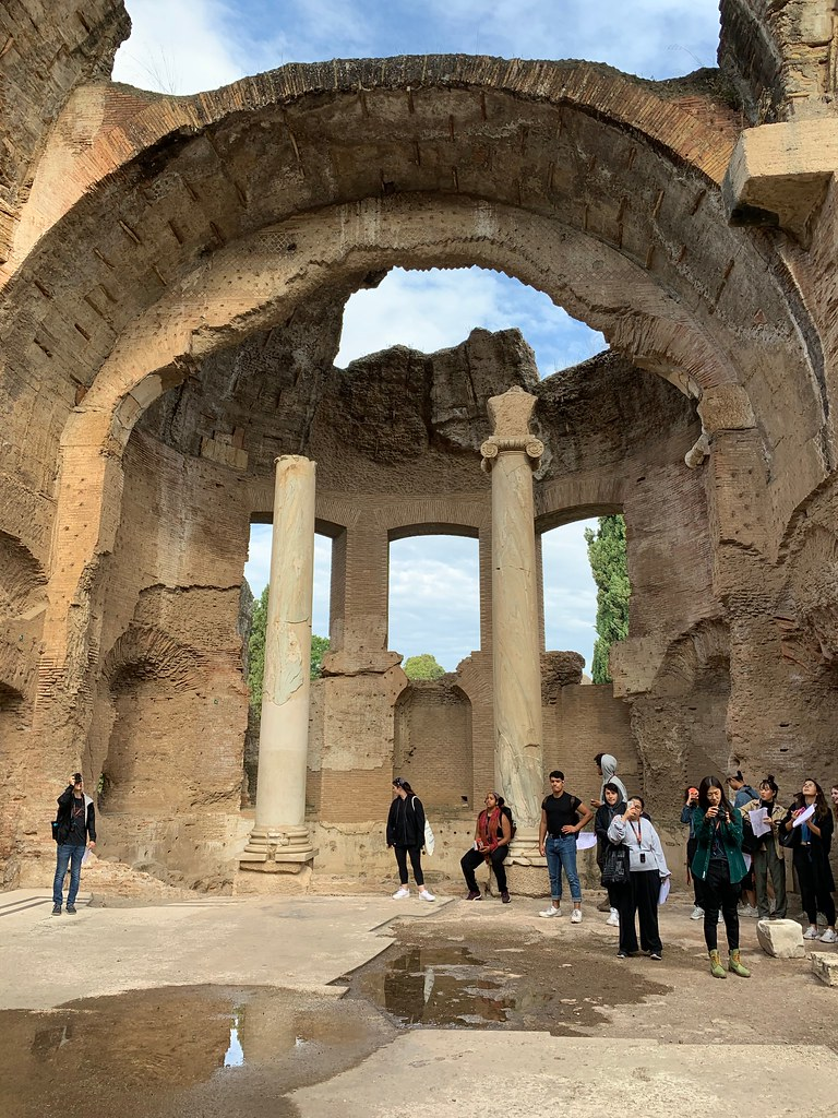 Architecture and art students at Cornell in Rome visit Hadrian's Villa, a large Roman archaeological complex in Tivoli.   photo / Abram Collette (B.Arch. '22)