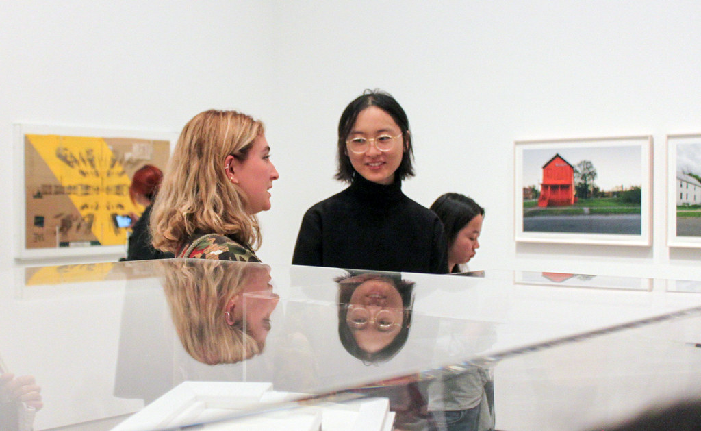 Maria (Auri) Ford and Lang (Judy) Dong (both B.Arch. '21) view Building Cities, an exhibition at the Museum of Modern Art curated by Cornell alum Sean Anderson (B.Arch./B.S. '96), associate curator in the Department of Architecture and Design at MoMA.   photo / Joyce Jin (B.Arch. '21)