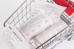 Shopping cart full of Receipts