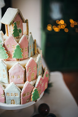 Closeup of delicious cake in style of castle for Christmas.