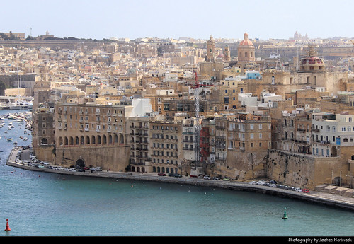 Senglea seen from Upper Barrakka Gardens, Valletta, Malta