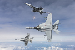 F/A-18E aircraft from Naval Air Station (NAS) Lemoore fly in formation over the Pacific Ocean.