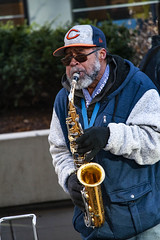 Chicago Ray Plays His Saxophone Outside the Adams Street Entrance to Chicago Union Station 12-6-19_4957