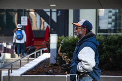 Chicago Ray Plays His Saxophone Outside the Adams Street Entrance to Chicago Union Station 12-6-19_4953