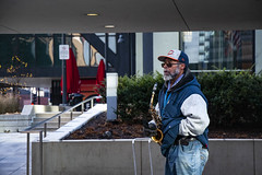 Chicago Ray Plays His Saxophone Outside the Adams Street Entrance to Chicago Union Station 12-6-19_4952
