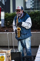 Chicago Ray Plays His Saxophone Outside the Adams Street Entrance to Chicago Union Station 12-6-19_4956