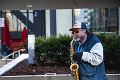 Chicago Ray Plays His Saxophone Outside the Adams Street Entrance to Chicago Union Station 12-6-19_4955