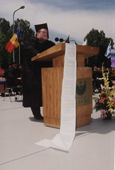 Jeff Entwistle speaking at commencement, circa late 1990s