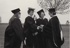 Carole Kortenhof, receiving congratulations from Extended Degree Director Bonni Yordi, May 1984