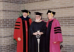 Professors Jerry Rodesch and David Damkoehler (left to right), Commencement May 2001