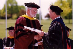 Professor Emeritus Donald Larmouth and Chancellor Mark Perkins, Commencement, May 2000