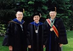 Chancellor Emeritus Edward Weidner, Chancellor Mark Perkins, Chancellor Emeritus David Outcalt, Commencement, May 2001