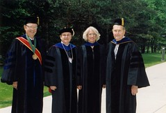 Chancellor Emeritus David Outcalt, Chancellor Mark Perkins, Ginny Riopelle, and Chancellor Emeritus Edward Weidner, Commencement, May 2001