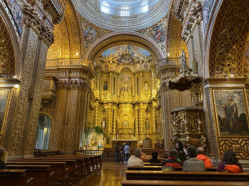 The High Altar of La Compañía at an elevation of 2,818 meters (9,245 ft) above sea level, Quito´s Historic Center, Ecuador.