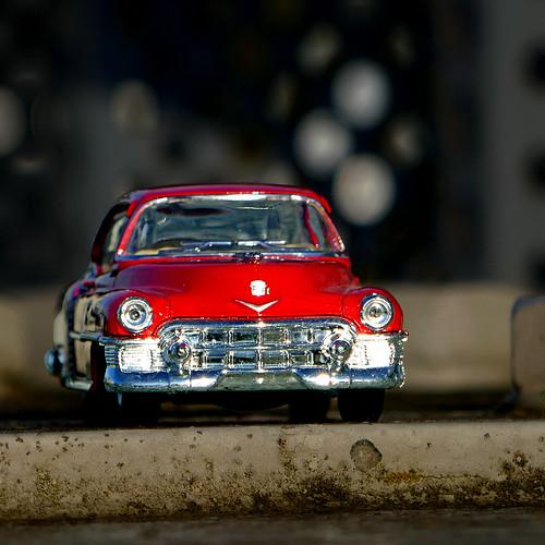 Red Cadillac on a Bridge