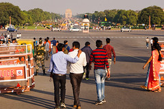 India, New Delhi - Friends with India Gate as a backdrop - February 2018
