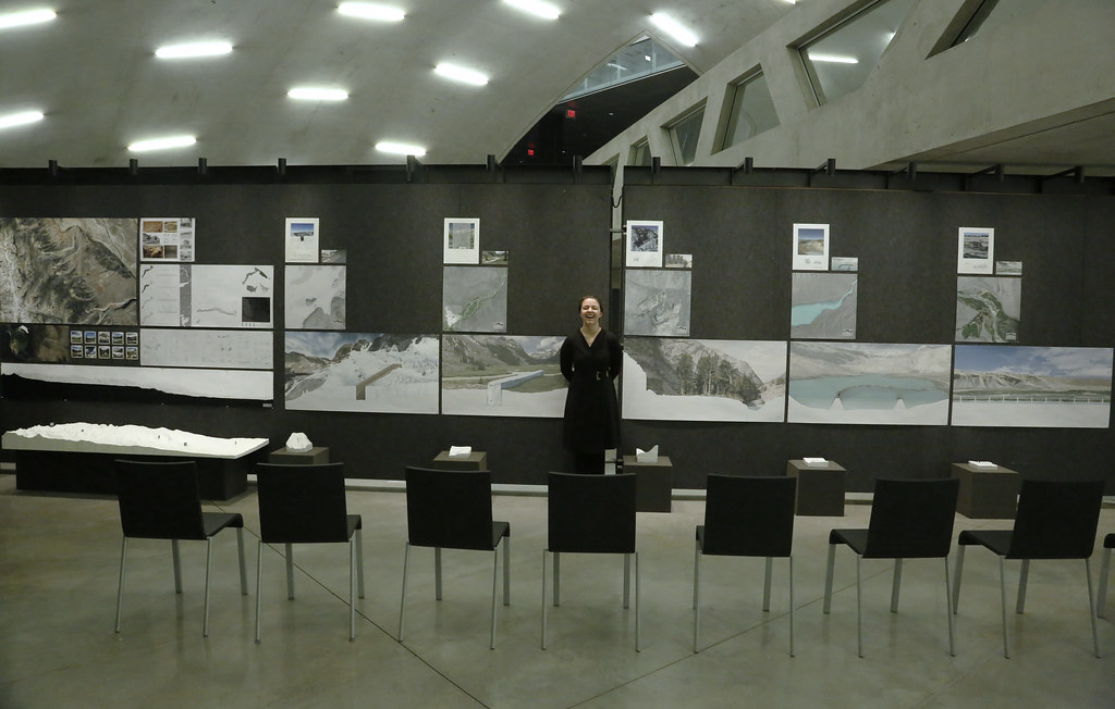 Eleanor Krause (M.Arch. '20) with her final thesis project in Milstein Hall dome.